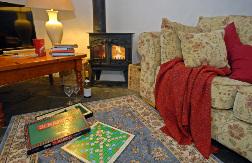 Cosy by the wood burner with a game of Scrabble!