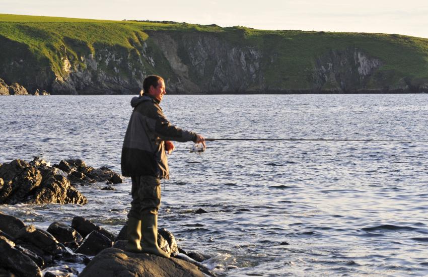 Shore fishing Abermawr, Druidston, Newgale