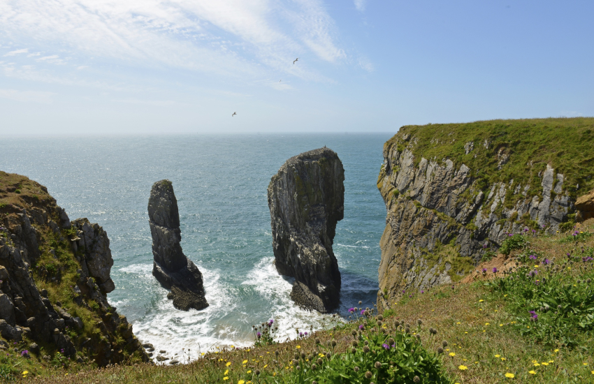 Pembrokeshire Coast Path Castlemartin stack rocks