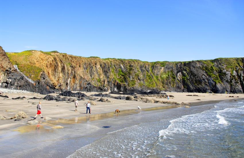 Traeth Llyfn is a remote fine sandy beach near Abereiddy and Porthgain