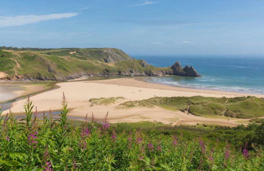 South Wales Three Cliffs Bay for stunning scenery