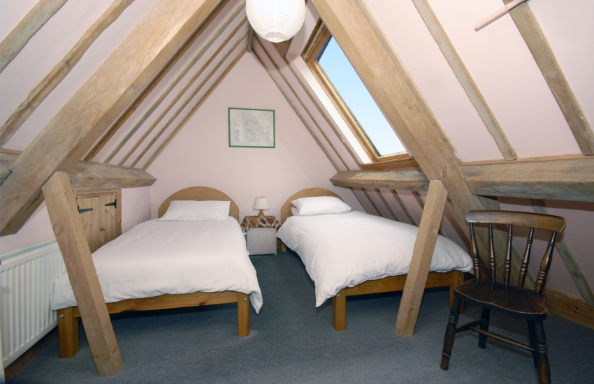 Pembrokeshire holiday home attic bedroom with 2'6 beds