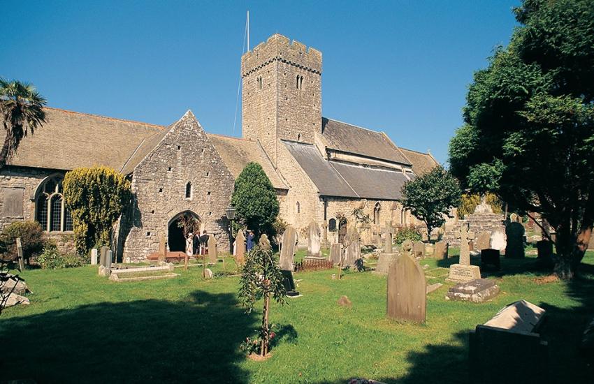 Llantwit Major St Illtud church Celtic crosses