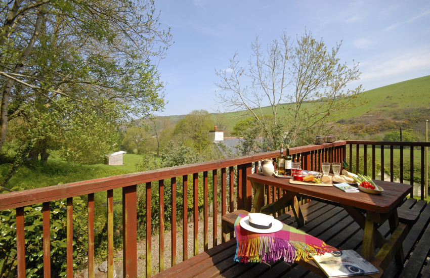 Holiday cottage at Cwm Tydu - deck with panoramic countryside views