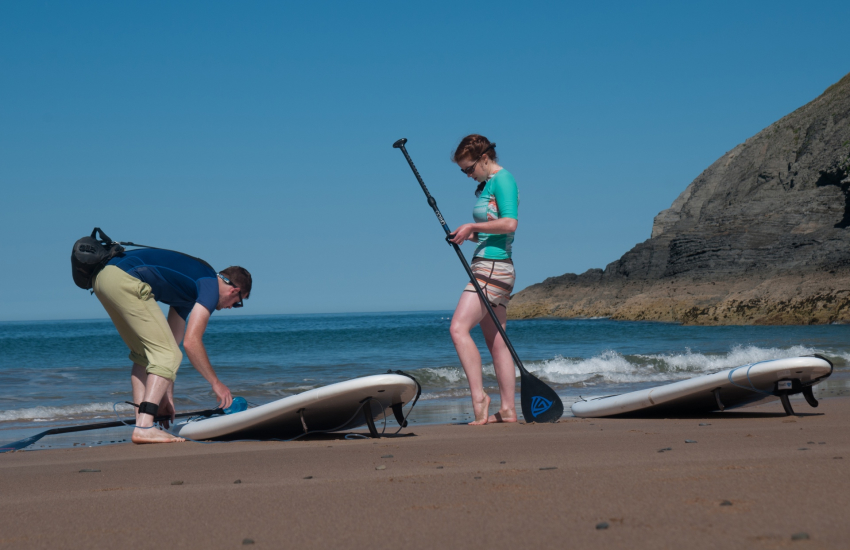Paddle boarding from Mwnt beach