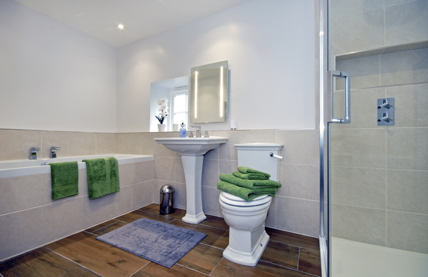 St Davids holiday house - luxury family bathroom with separate shower