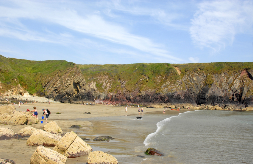 Caerfai Bay is a sheltered cove popular