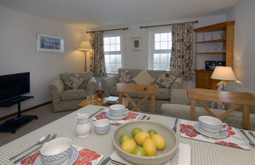 St Davids first floor holiday apartment - open plan living area