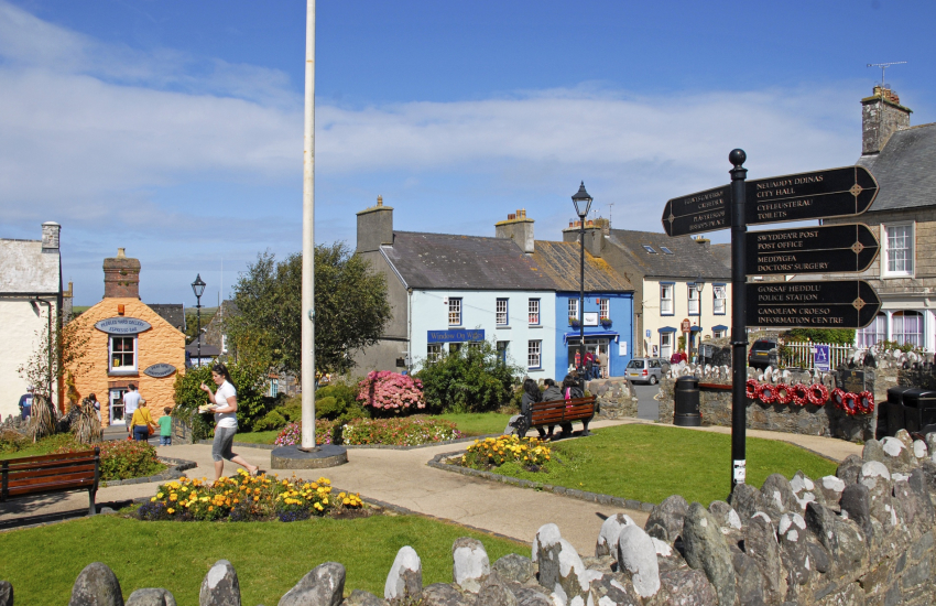 Cross Square, St Davids has the status of a city