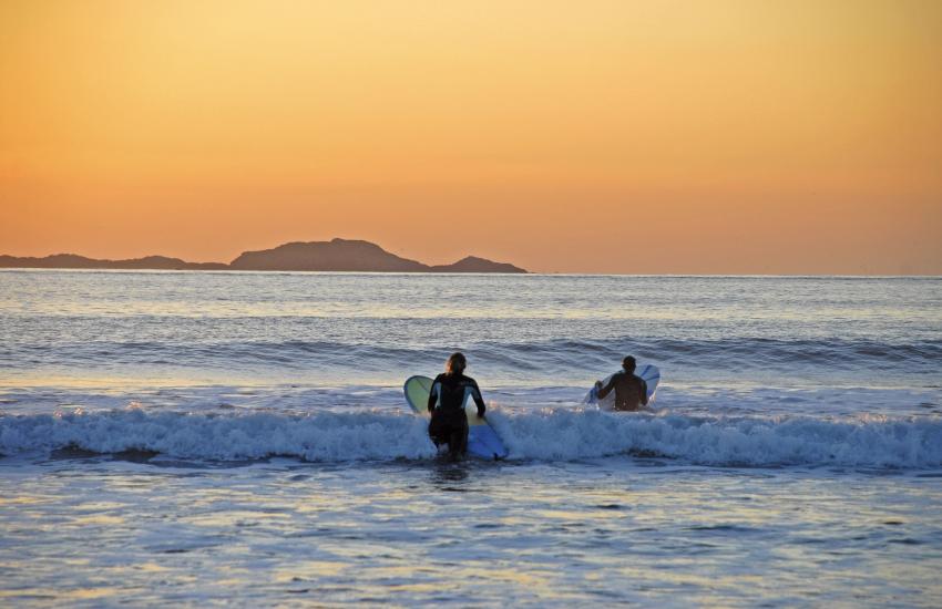 Sunset surf at Whitesands