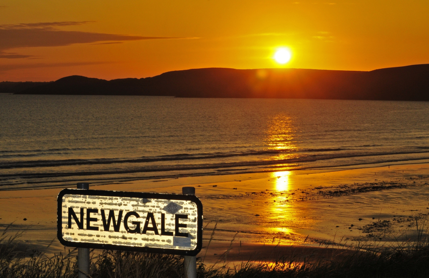 Newgale Beach at sunset 2 miles of golden sands