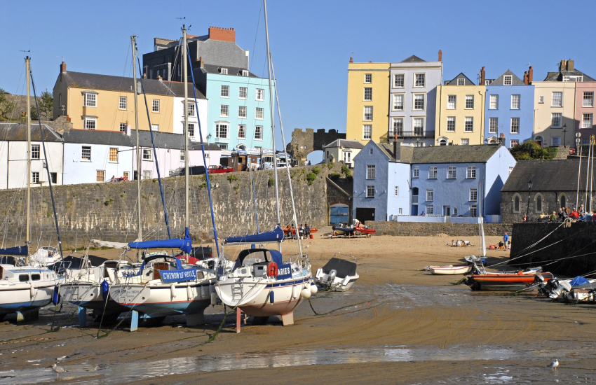 Tenby Harbour, with its characterful walled town