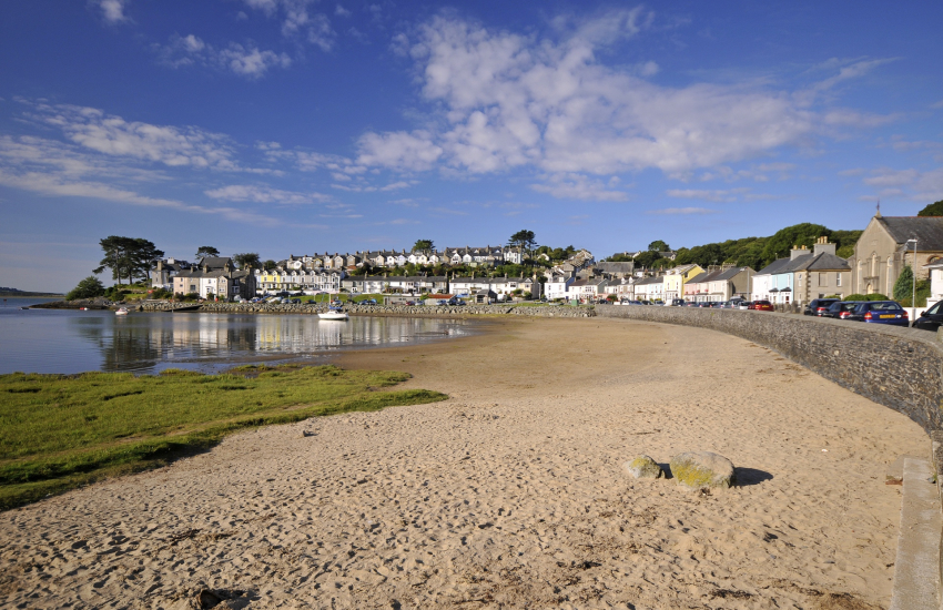 Borth y Gest harbour encircled by attractive Victorian houses