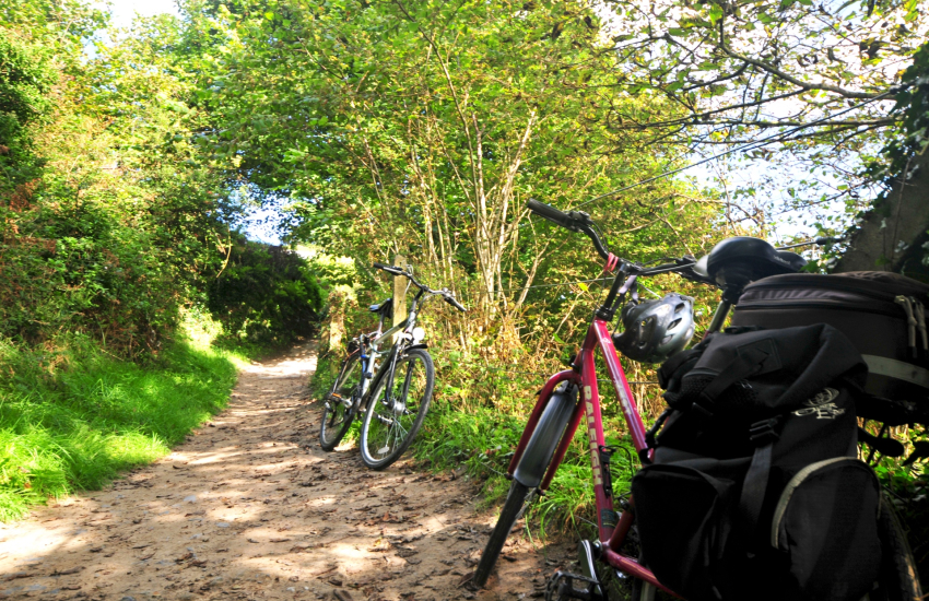 Cycling along the path to Borth y Gest beach