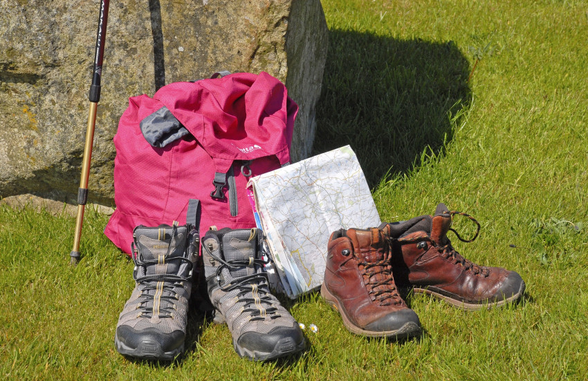 Boots at the ready for fantastic coastal walking nearby