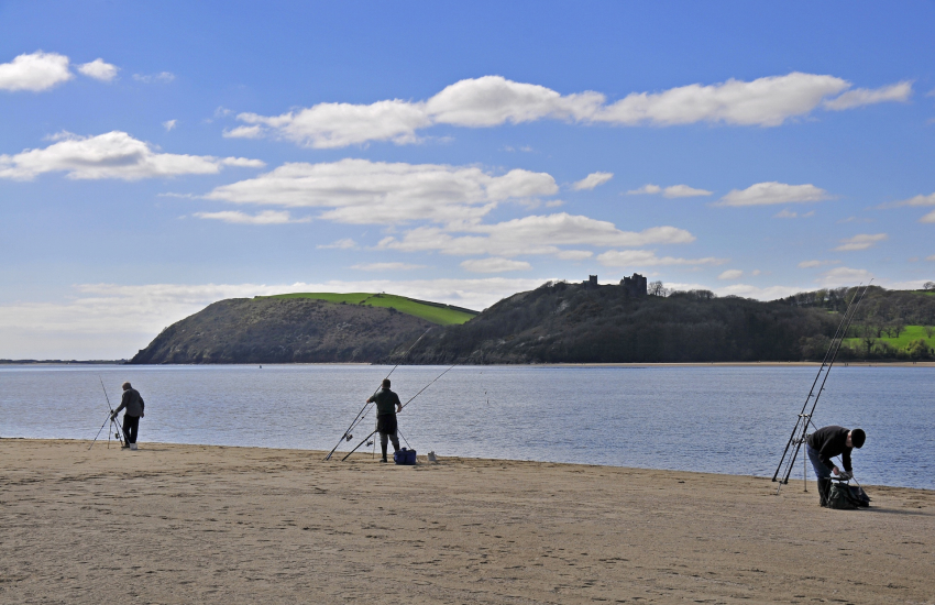 Ferryside's sandy beach east bank of the Towy Estuary dog friendly