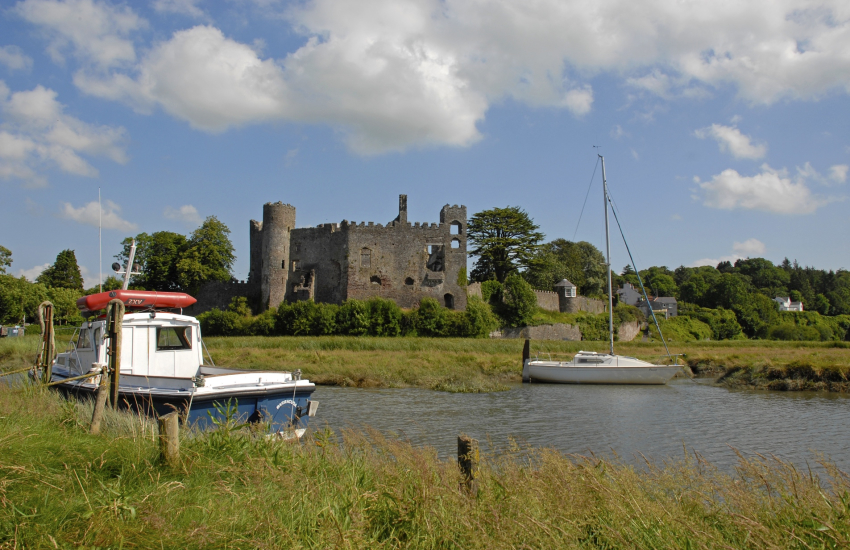 Laugharne Castle overlooks the waters of the Taf Estuary