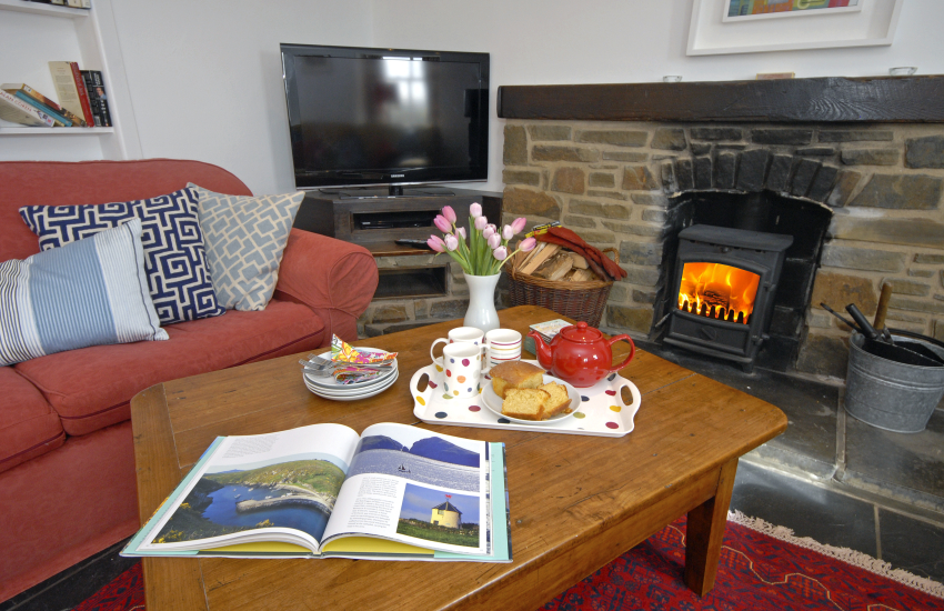 Cosy living room by the wood burning stove at Ty Gwyn