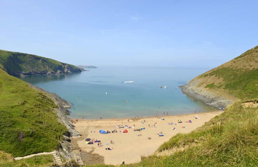Mwnt Cove (N.T) is a small secluded sandy beach