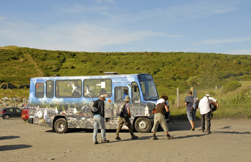 'Poppit Rocket' coastal bus service which runs between Cardigan, Newport