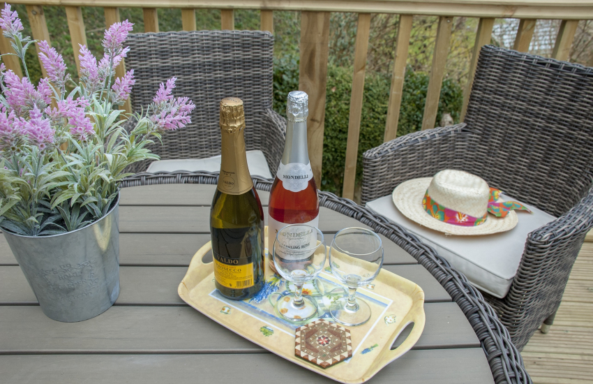 A glass of bubbly at Cwm Tydu holiday cottage