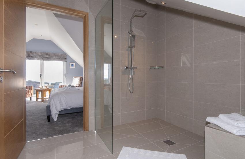 Second floor luxury bathroom suite with separate spacious walk in shower