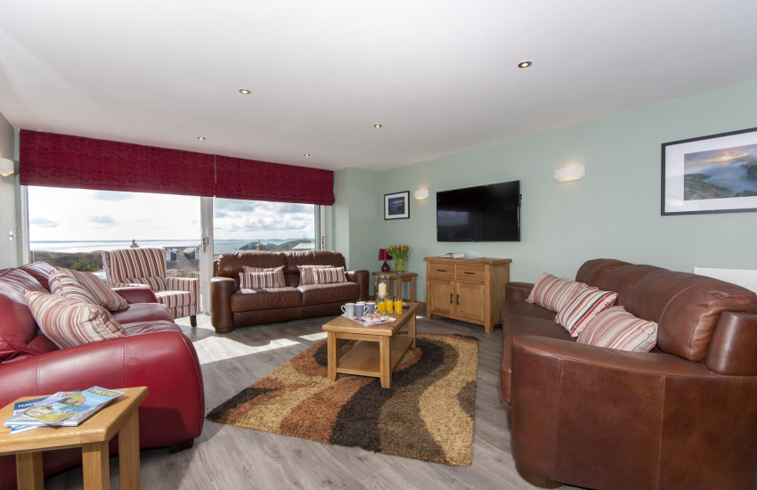 Solva, Pembrokeshire - modern, stylish open plan living room with panoramic coastal views