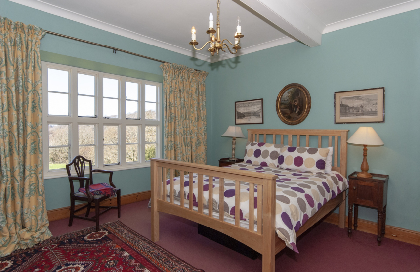 Pontfaen Manor House - double bedroom with views over the lawn gardens