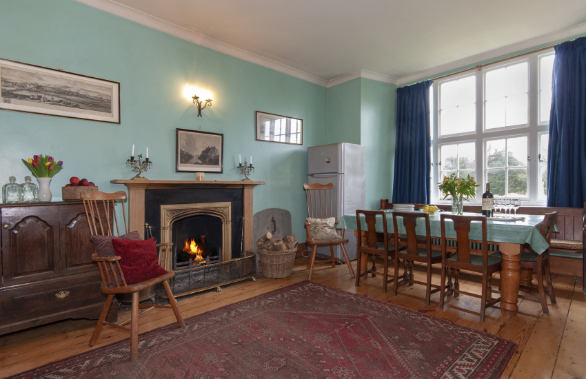 Manor House in the Gwaun Valley - spacious kitchen/diner with open fire place