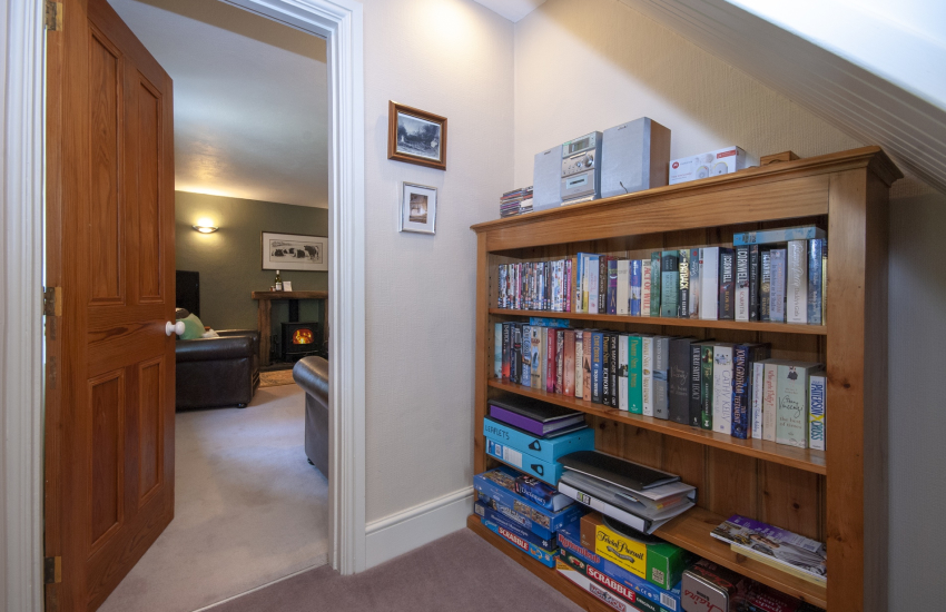 Entrance hall with ample stock of games, books, and DVD's