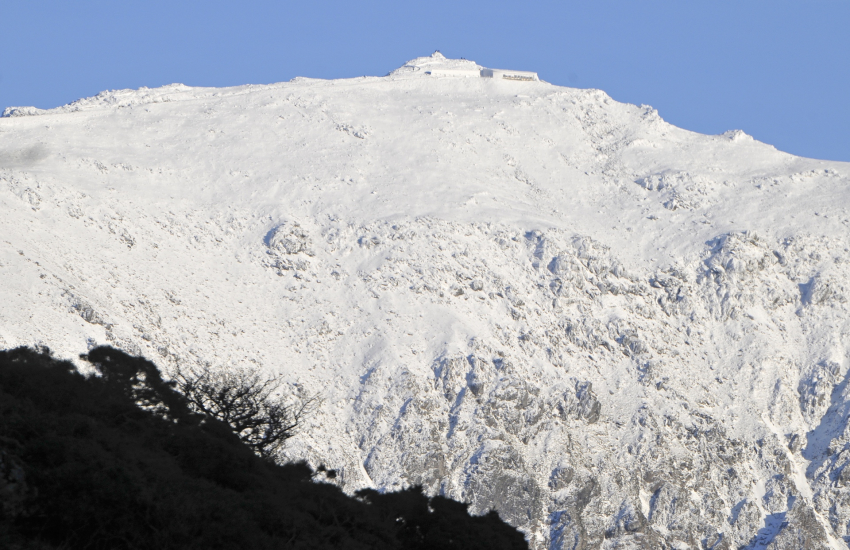 Snow capped summit of Snowdon