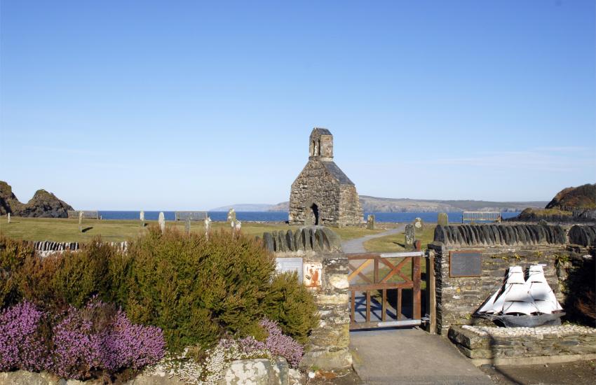 Cwm yr Eglwys beach, 12th century church of St Brynach