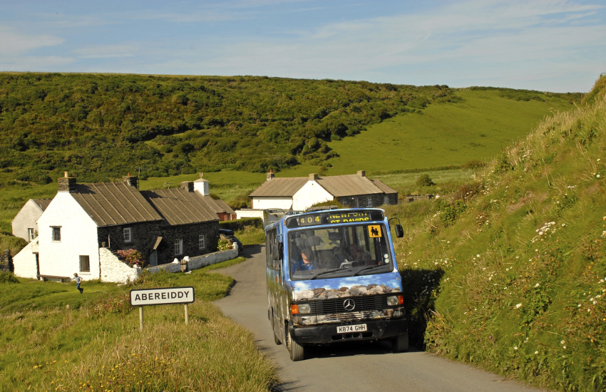The Strumble Shuttle Coastal Bus Service connecting Trefin with St Davids