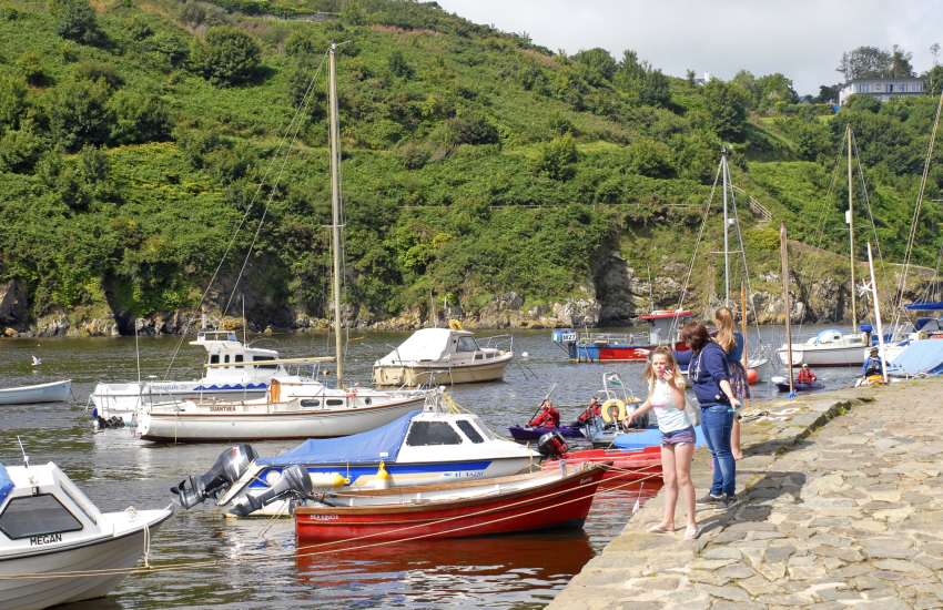 Lower Town Fishguard is a great spot for crabbing off the harbour wall
