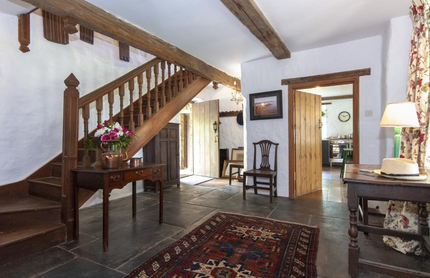 18th century home near Creswell Quay - entrance hall with original flagstone floor