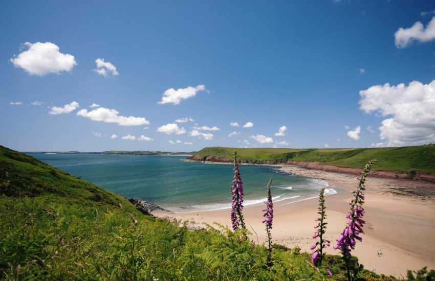 The sheltered sandy cove of Manorbier - popular with families, surfers and great for rock-pooling