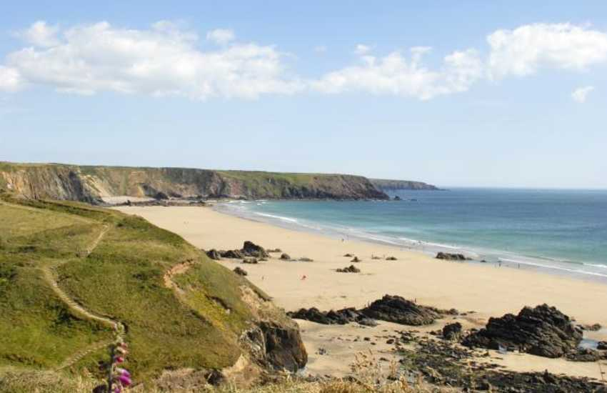 Marloes Sands on the Dale Peninsula is a magnificent beach with a crescent of golden sand at low tide