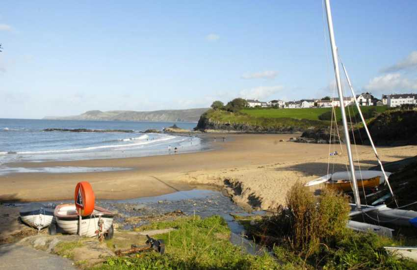 Aberporth on the Cardigan Bay Heritage Coast Path - a pretty seaside village just a short drive away with two golden sandy beaches (Blue Flag) to choose from