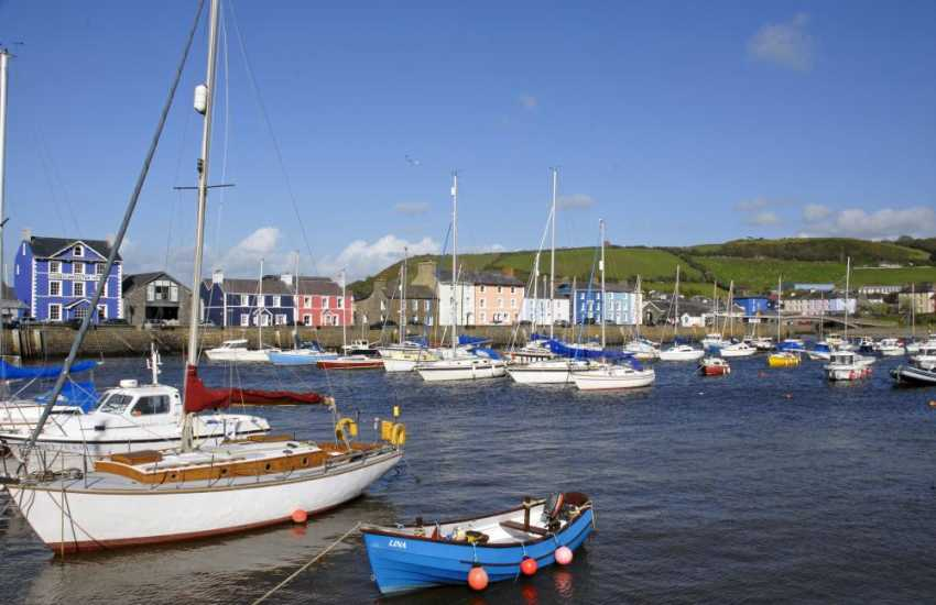 Aberaeron - a lovely Georgian resort with a range of small, interesting shops, craft centres, pubs and award winning Harbourmaster Restaurant which overlooks the quayside