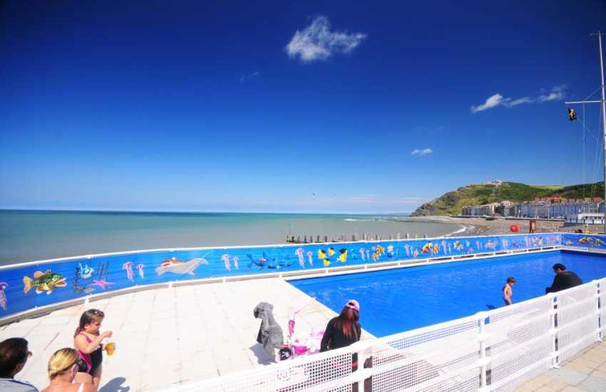 Aberystwyth beachfront and paddling pool