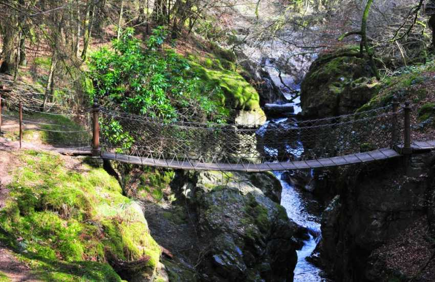 The chain bridge in the Hafod Estate