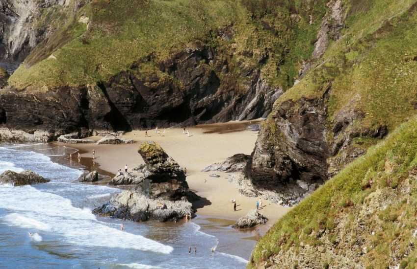 Llangrannog - a seaside village with a sheltered sandy beach and just one of the many tiny coves dotted along this stunning part of the Welsh Coast