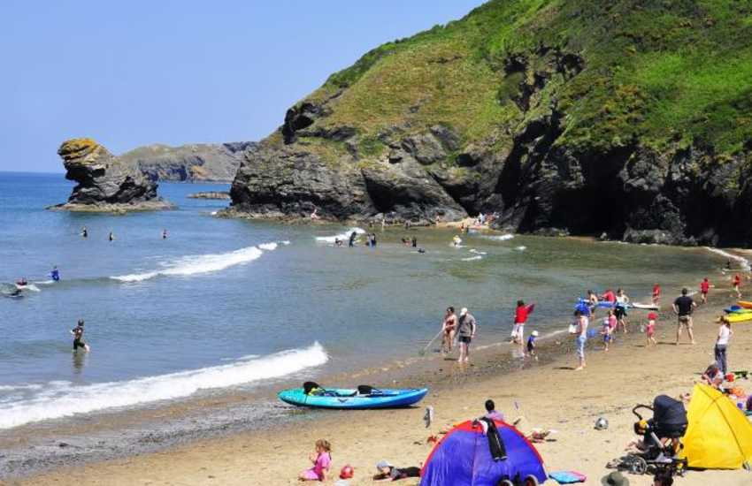 The picturesque seaside village of Llangrannog (N.T) is great for rock-pooling, kayaking and just one of the many little coves dotted along this spectacular coastline