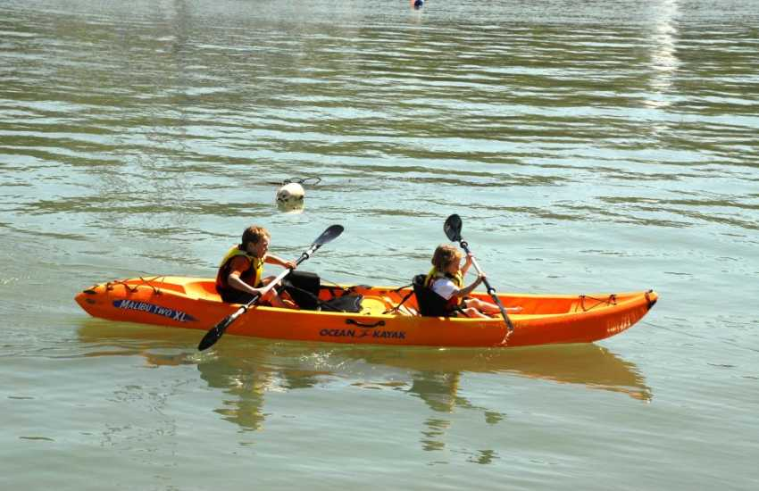 Kayaking in the blue lagoon at Abereiddy