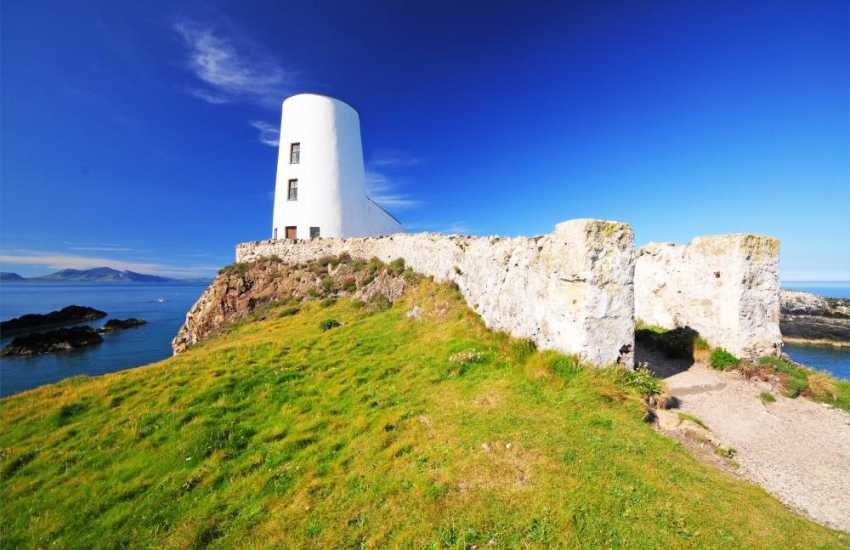 Lighthouse at the tip of Llanddwyn Island. Dolphins are often see from this impressive vantage point