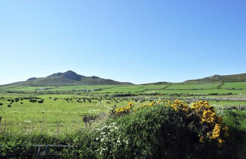 Carn Llidi mountain - the view across National Trust common land from the cottage