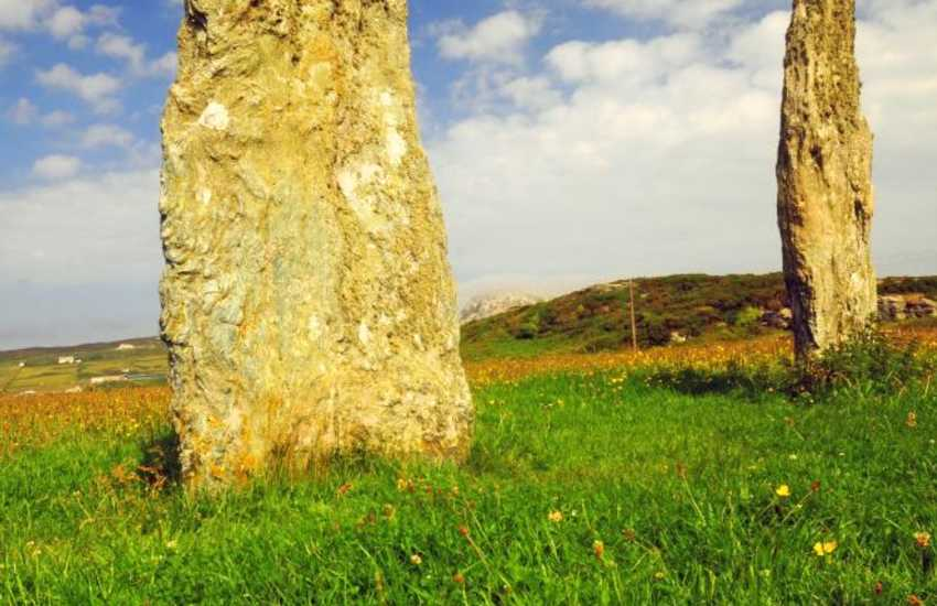 Penrhos Feilw standing stones (2000BC) close to South Stack & Ty Mawr hut circles at the base of Holyhead mountain
