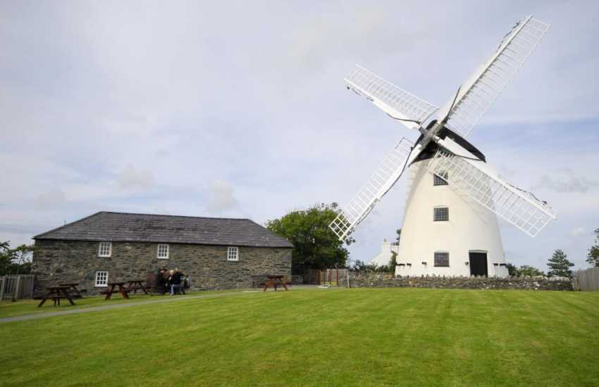 The windmill at Llynnon is the only working windmill in Wales. Here they produce coarse ground flour which can be purchased - and whilst you're there, have a cup of tea and sample their cakes in the little mill cafe
