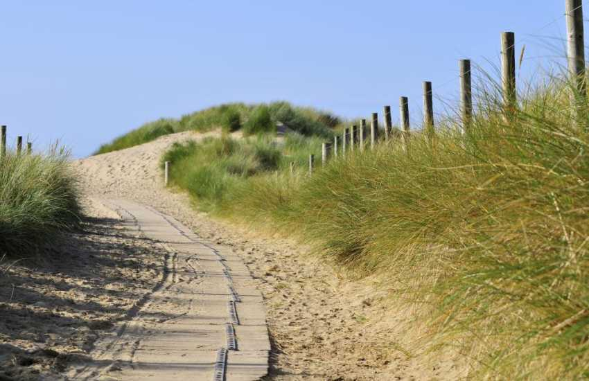 The path winding round to Harlech Sands, a vast expanse of sand with lovely clean waters for swimming