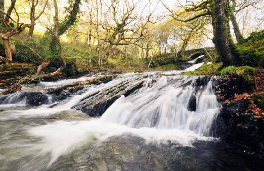 Waterfalls on the river below the 'Cloggau' gold mines, above the fabulous Mawddach estuary